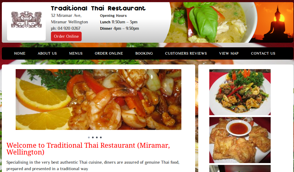 Traditional thai miramar restaurant websites for Authentic new zealand cuisine